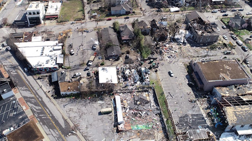 The picture above shows the extent of the damage caused by the tornadoes that swept through Nashville.