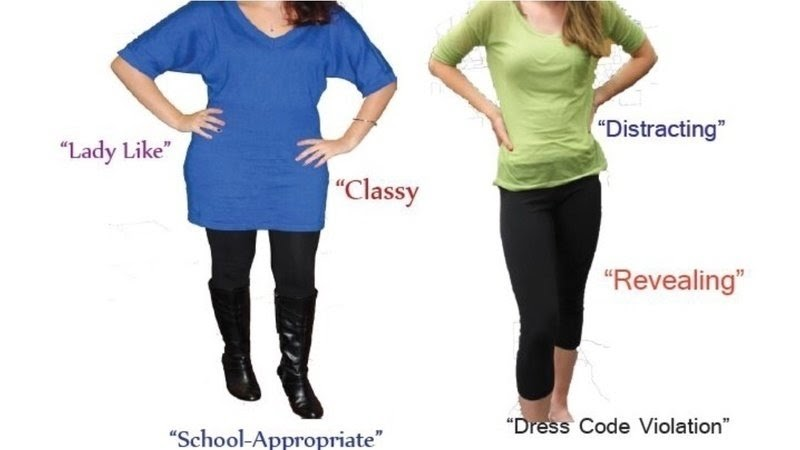 This image shows the small differences that lead to being dress coded. Source: https://www.change.org/p/hall-county-board-of-education-improve-the-dress-code-for-hall-count-schools
