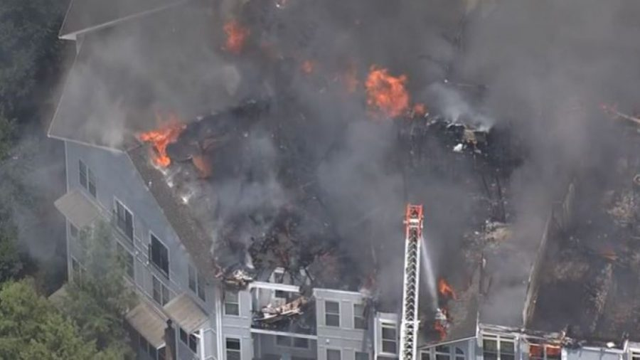 Bird's eye view of apartment complex fire on 517 Main street in Atlanta GA. Source: https://www.fox5atlanta.com/news/red-cross-helping-nearly-100-families-displaced-by-massive-northeast-atlanta-apartment-fire