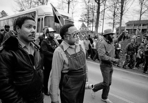 Hosea Williams leading the first march on Cumming celebrating the anniversary of Dr. King's birthday, January 17th, 1987. Photo by Gene Blythe/AP.