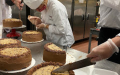 Students cutting cakes in the Culinary pathway. Photo taken by Grace Palmer on September 15th 2020 at 11:13 AM. All rights reserved.