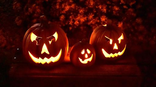 Jack O Lanterns at night. Jack O Lanterns are a popular Halloween tradition. (Wikimedia Commons/Paul Hermans)https://bit.ly/3lTVkNj
